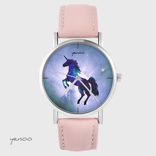 Zegarek yenoo - Jednorożec - pudrowy róż, skórzany