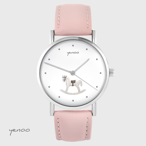 Yenoo watch - Rocking horse - powder pink, leather