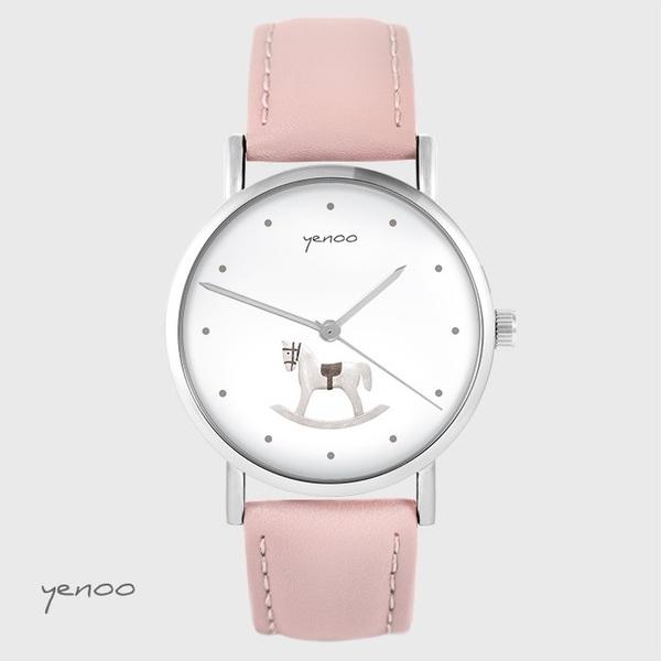 Zegarek yenoo - Konik na biegunach - pudrowy róż, skórzany