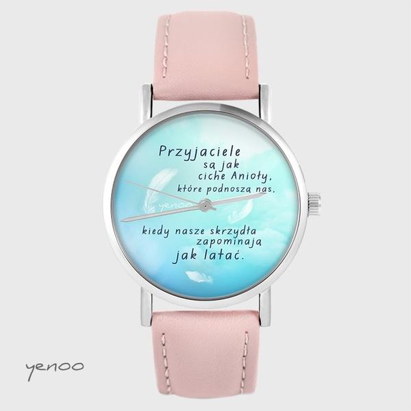 Zegarek yenoo - Przyjaciele - pudrowy róż, skórzany