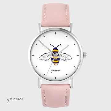Yenoo watch - Bee - powder pink, leather
