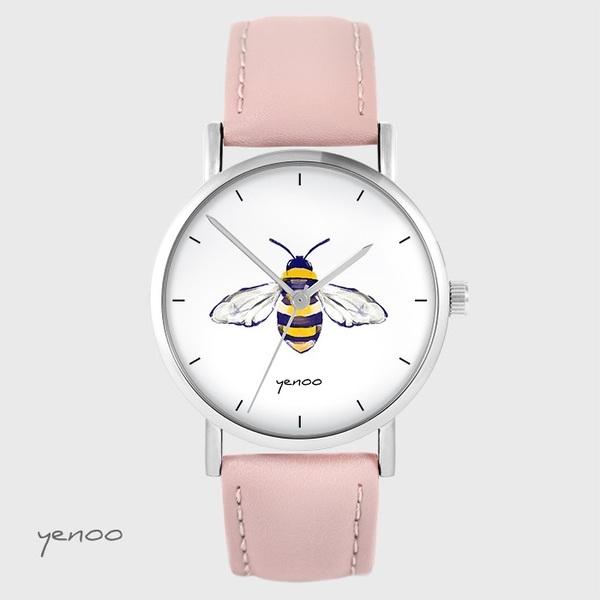 Zegarek yenoo - Pszczoła - pudrowy róż, skórzany