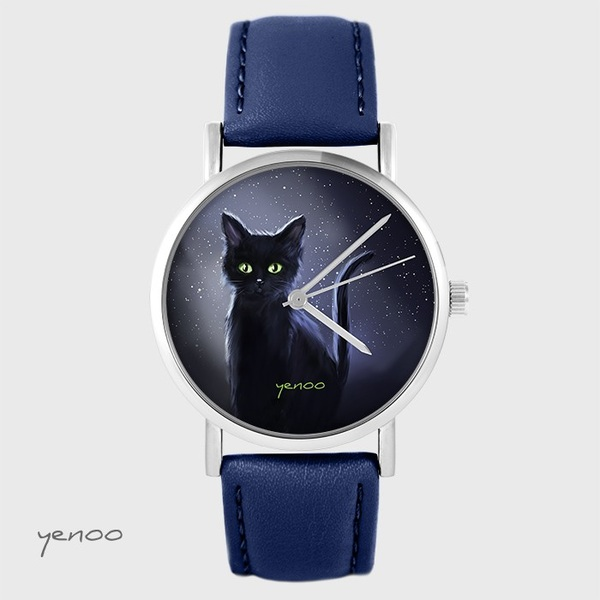 Yenoo watch - Black cat, night - navy blue, leather