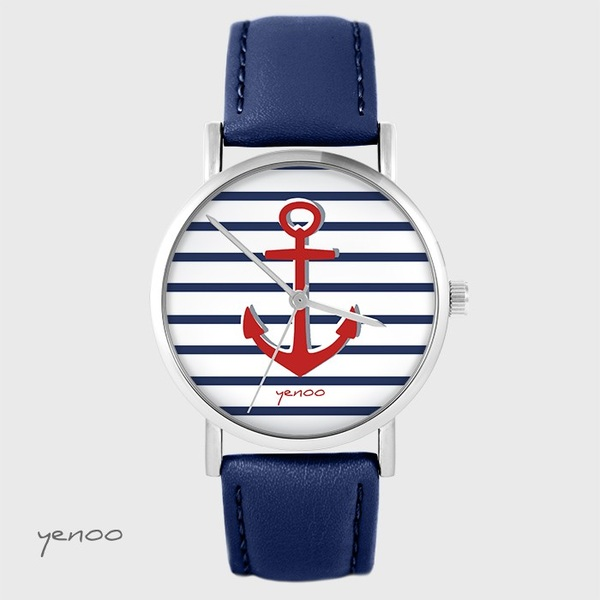 Yenoo watch - Anchor - navy blue leather