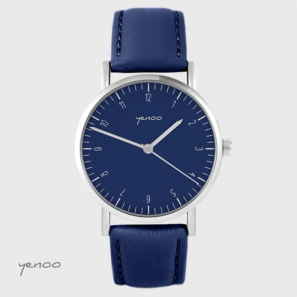 Yenoo - Simple elegance watch, navy blue - navy blue, leather