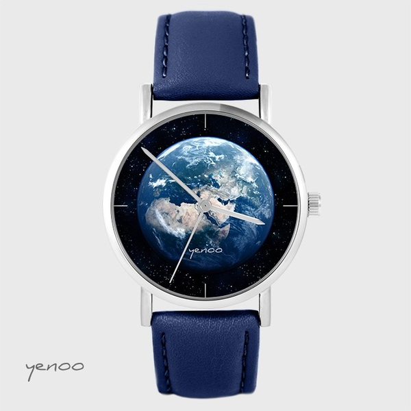 Yenoo watch - Earth - navy blue leather