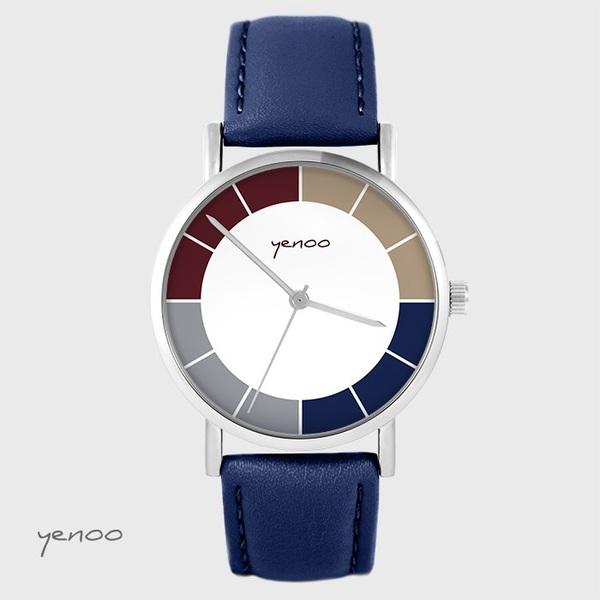 Zegarek yenoo - Classic tricolor - granatowy, skórzany