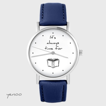 Watch yenoo - It is always time for a book - navy blue, leather