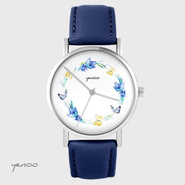 Yenoo watch - Wreath of butterflies - navy blue, leather