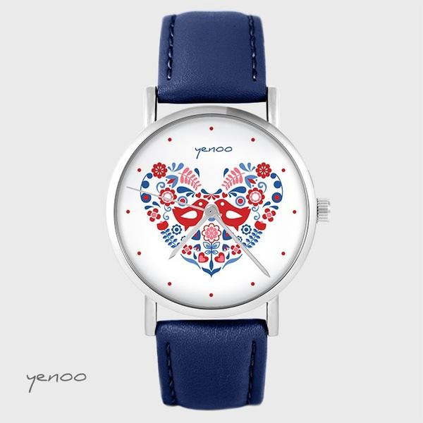 Zegarek yenoo - Ptaszki folkowe - granatowy, skórzany