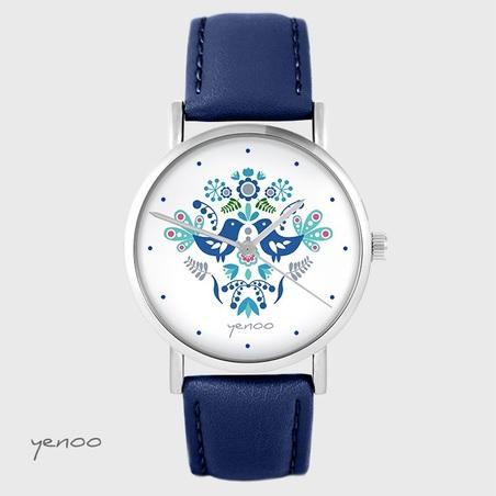 Yenoo watch - Folk birds, blue - navy blue, leather