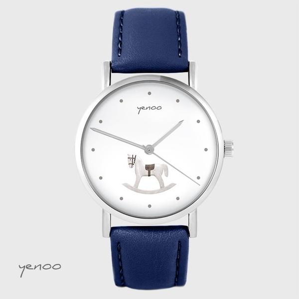 Yenoo watch - Rocking horse - navy blue, leather