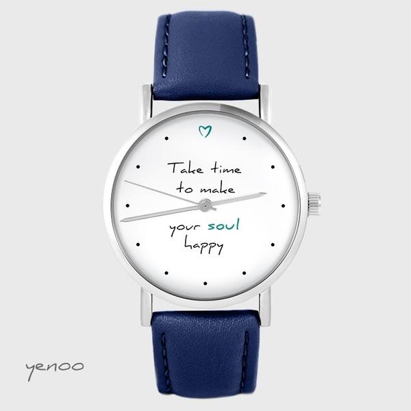 Zegarek yenoo - Make your soul happy - granatowy, skórzany