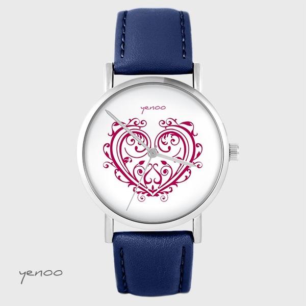 Zegarek yenoo - Serce ornamentowe - granatowy, skórzany