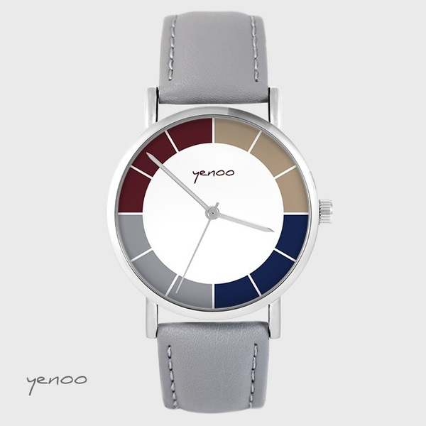 Watch yenoo - Classic tricolor - gray, leather