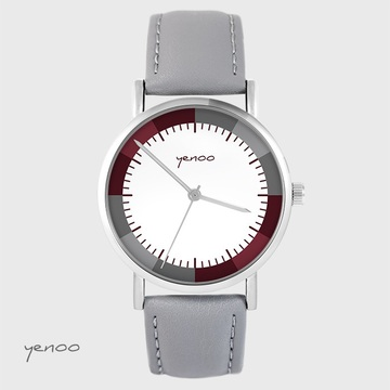 Watch yenoo - Classic wine - gray, leather