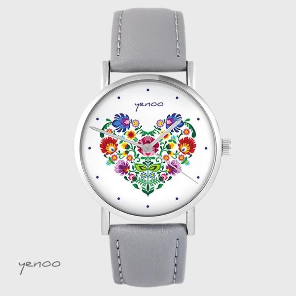 Zegarek yenoo - Folkowe serce - szary, skórzany