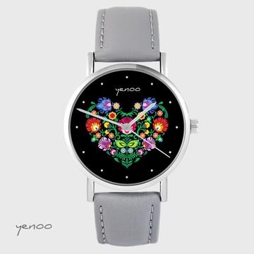 Yenoo watch - Folk heart, black - gray, leather