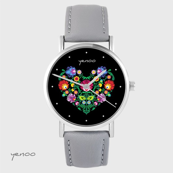 Yenoo watch - Folk heart, black - gray, leather
