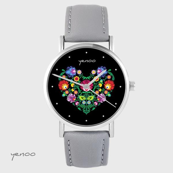 Zegarek yenoo - Folkowe serce, czarne - szary, skórzany