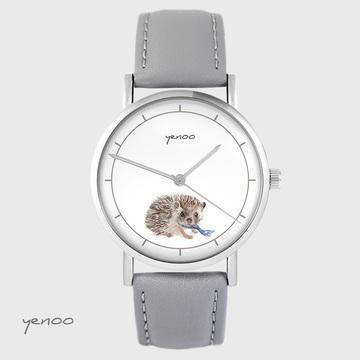 Yenoo watch - Hedgehog - gray, leather