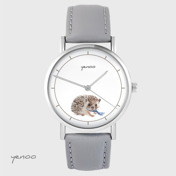 Zegarek yenoo - Jeżyk - szary, skórzany