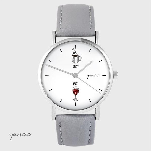 Yenoo watch - Coffee and wine - gray, leather