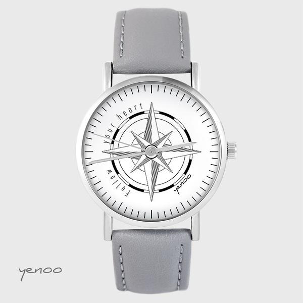 Zegarek yenoo - Kompas - szary, skórzany