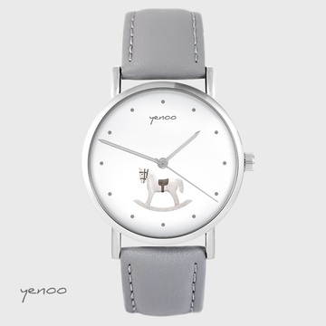 Yenoo watch - Rocking horse - gray, leather