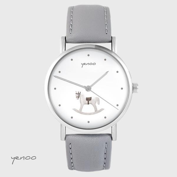 Zegarek yenoo - Konik na biegunach - szary, skórzany