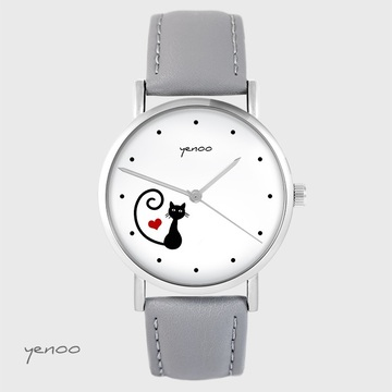 Yenoo watch - Kitty heart - gray, leather