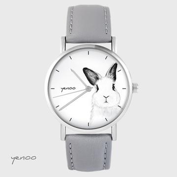 Zegarek yenoo - Królik - szary, skórzany