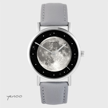 Yenoo watch - Moon - gray, leather