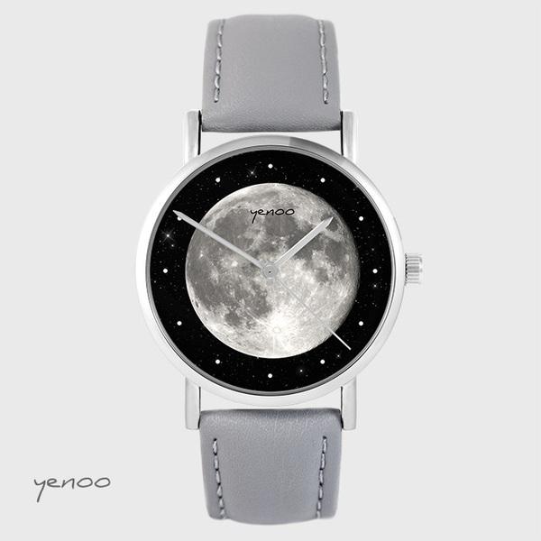 Zegarek yenoo - Księżyc - szary, skórzany