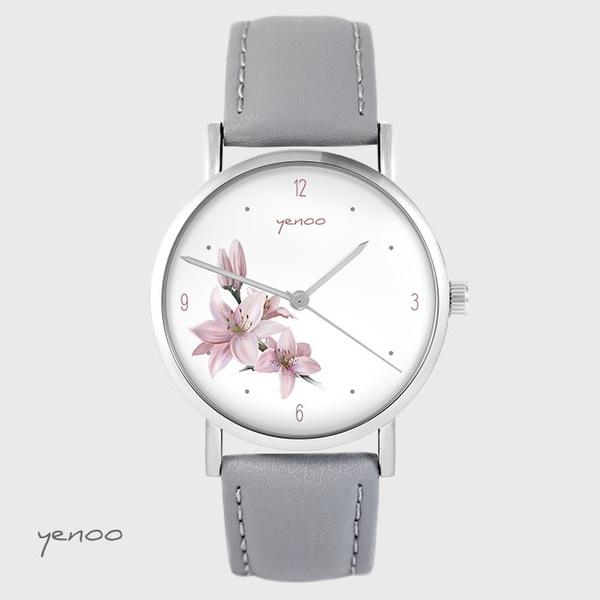 Zegarek yenoo - Lilia - szary, skórzany