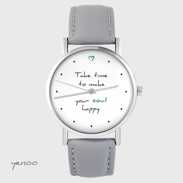 Watch yenoo - Make your soul happy - gray, leather