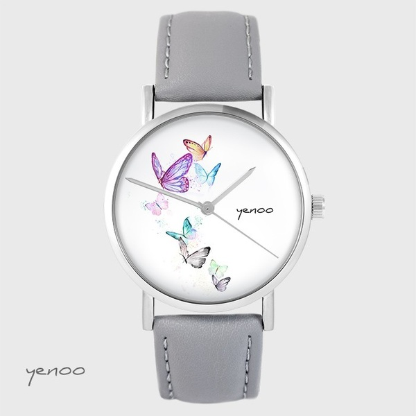 Yenoo watch - Butterflies - gray, leather