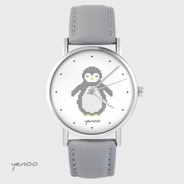 Yenoo watch - Penguin, markings - gray, leather