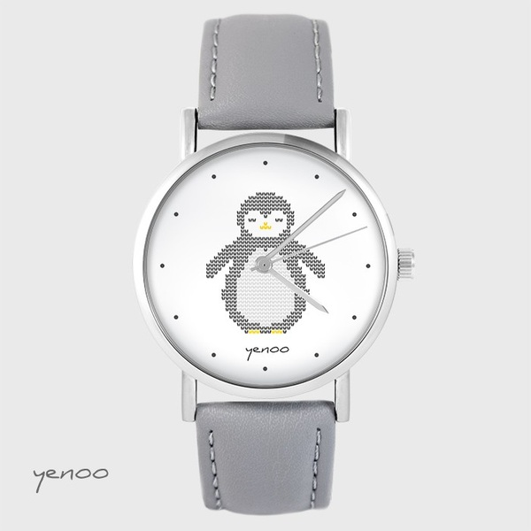 Yenoo watch - Penguin, markings - gray, leather