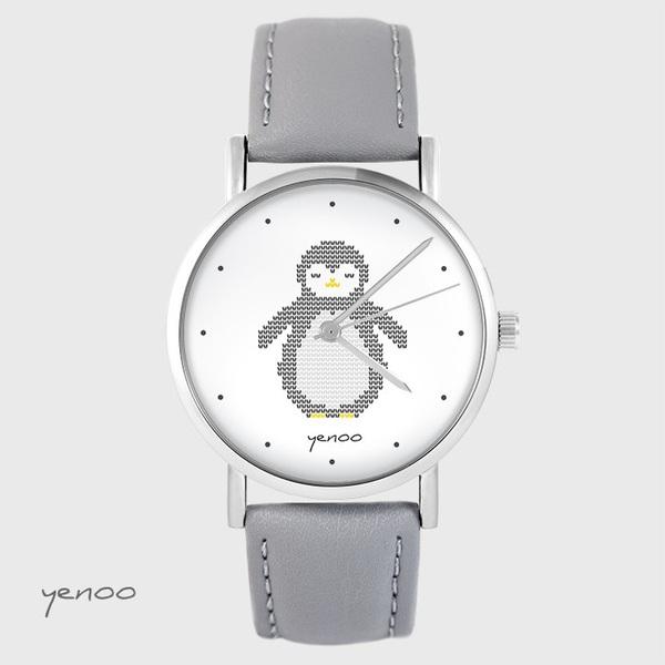 Zegarek yenoo - Pingwin, oznaczenia - szary, skórzany