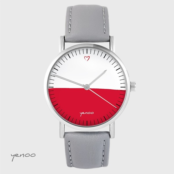 Yenoo watch - Polish flag - gray, leather