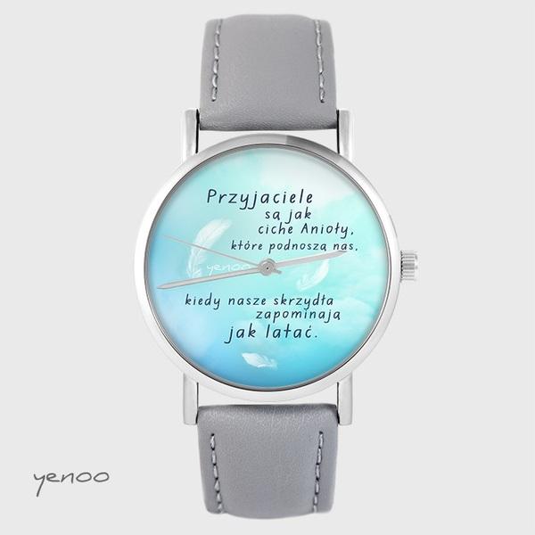 Zegarek yenoo - Przyjaciele - szary, skórzany