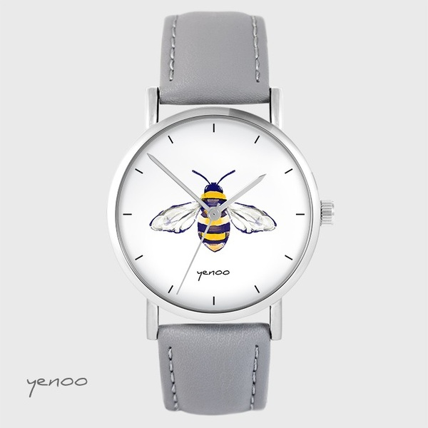 Yenoo watch - Bee - gray, leather
