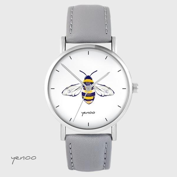 Zegarek yenoo - Pszczoła - szary, skórzany