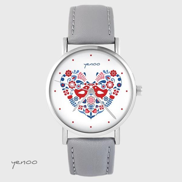 Yenoo watch - Folk birds - gray, leather