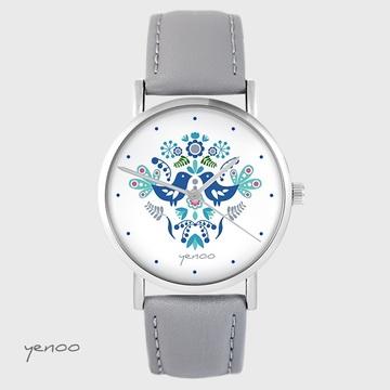 Yenoo watch - Folk birds, blue - gray, leather