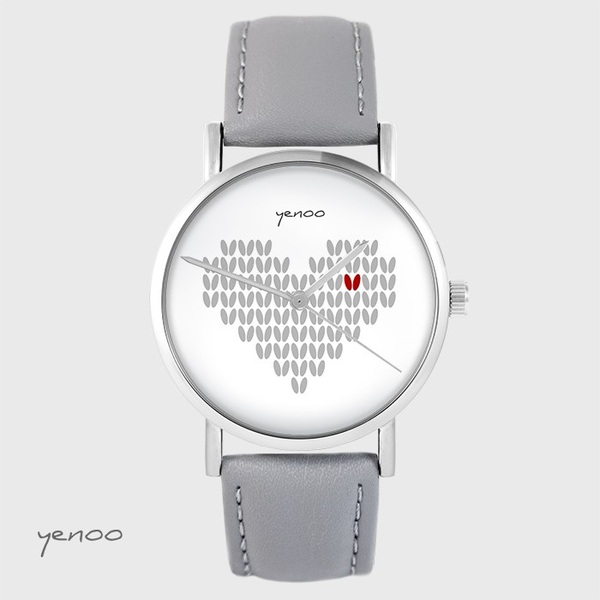 Yenoo watch - Knitted heart - gray, leather