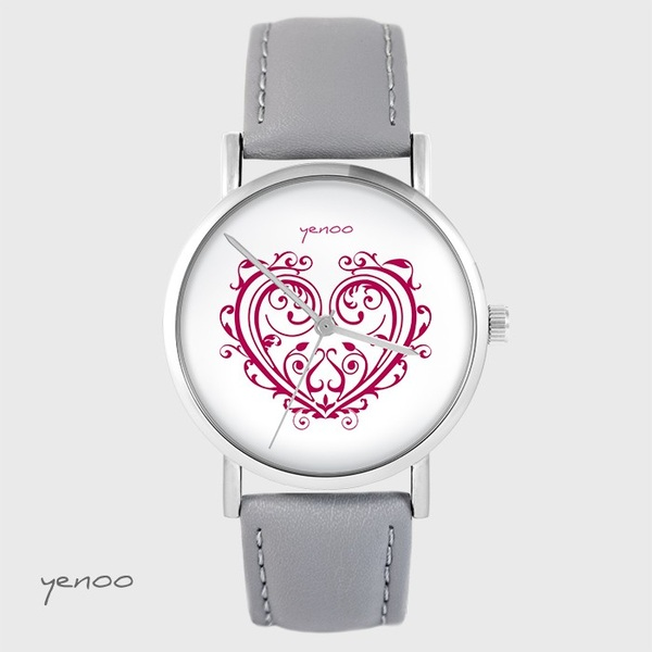 Yenoo watch - Ornamental heart - gray, leather