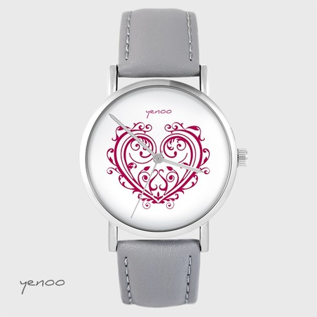 Yenoo watch - Ornamental heart - gray, leather