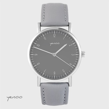 Yenoo - Simple elegance watch, gray - gray, leather
